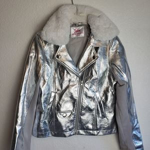 Justice Faux Leather Chrome Moto Kids Jacket
